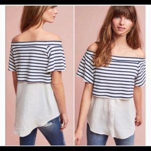 NWT Anthropologie Layered Off-The-Shoulder Tunic